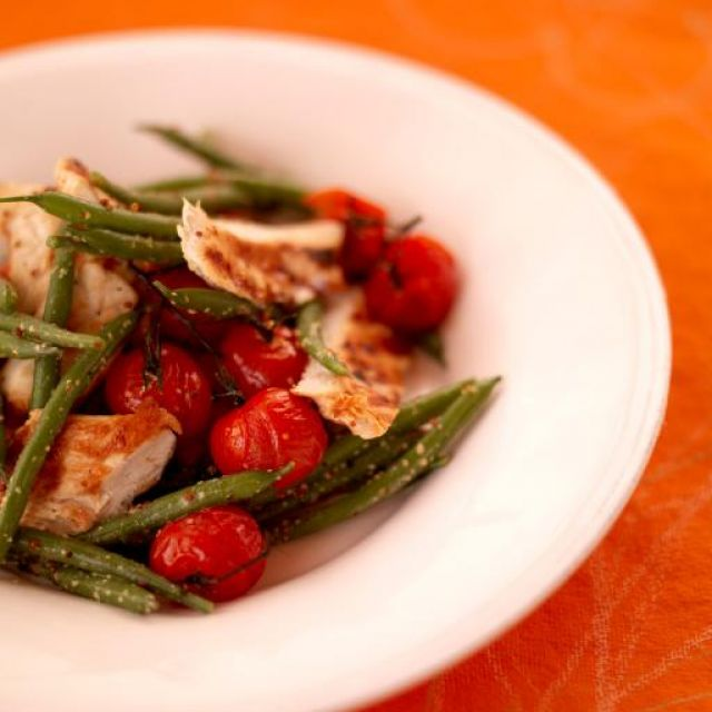 Barbecue Chicken with Warm Green Bean Salad