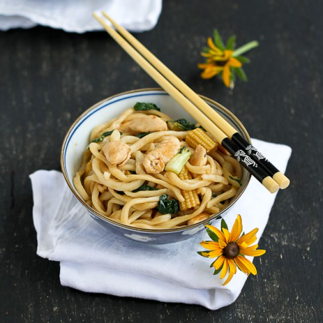 Chinese Noodles with Chicken, Bok Choy and Hoisin Sauce