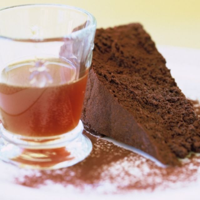 Chocolate Cake with Plum Pudding Vodka