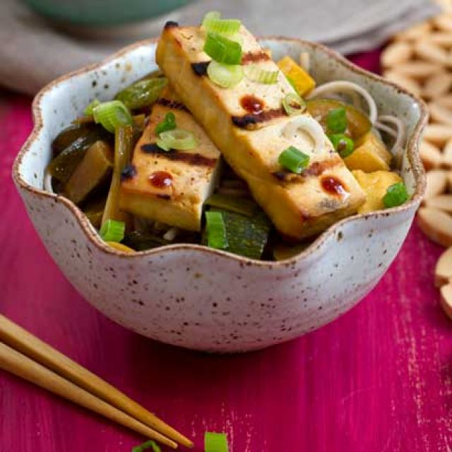 Grilled Tofu with Summer Squash and Soba Noodles