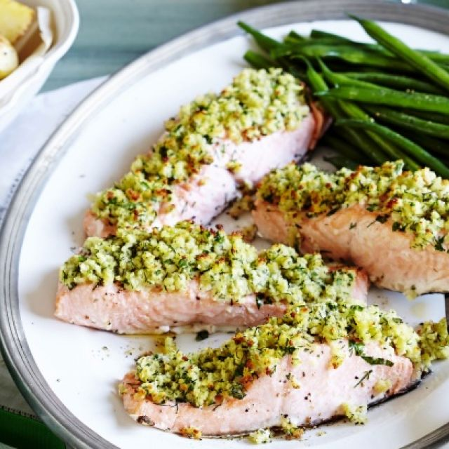 Herb-Crusted Salmon with Green Beans and Baby Potatoes
