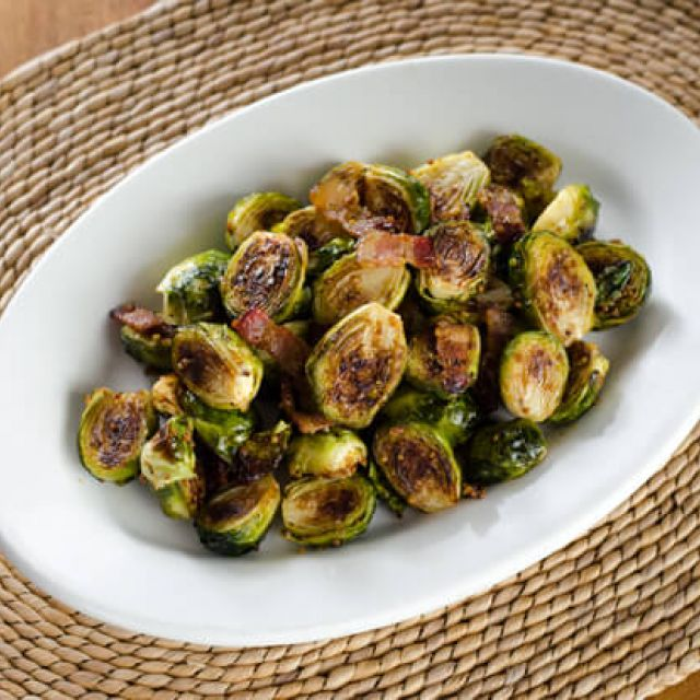 Bacon Roasted Brussels Sprouts with Honey Mustard