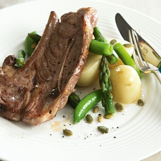 Lamb Chops with Potato and Pea Salad