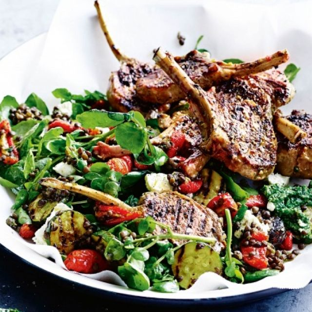 Lamb Cutlets with Lentil Salad and Mint and Watercress Pesto