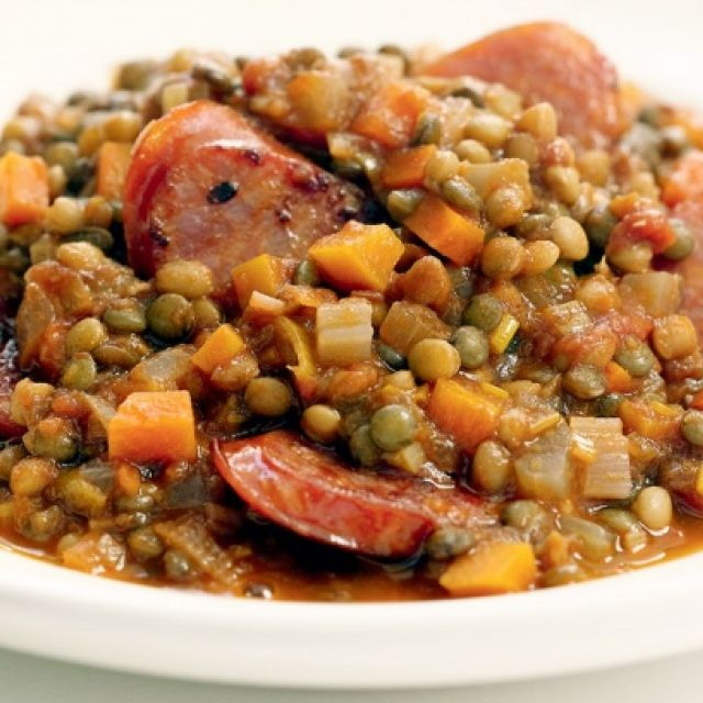 Lentil Stew with Spicy Sausage