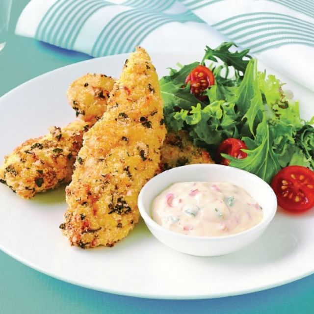 Low-Fat Chicken Strips with Sweet Chili Yogurt