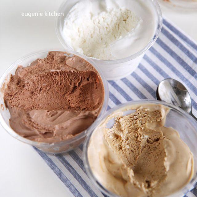 No-Churn Ice Cream  - Vanilla, Chocolate, and Coffee
