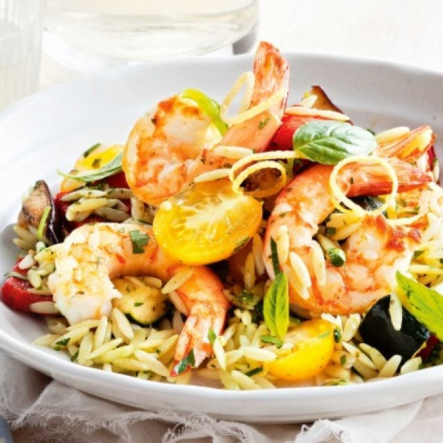 Orzo Salad with Grilled Prawns, Basil and Roasted Vegetables