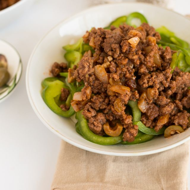 Picadillo with Spiralized Green Bell Peppers