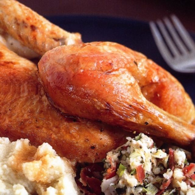 Roast Chicken with Apple Seasoning and Cauliflower Puree