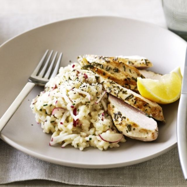 Rosemary Chicken with Radish and Mascarpone Risotto