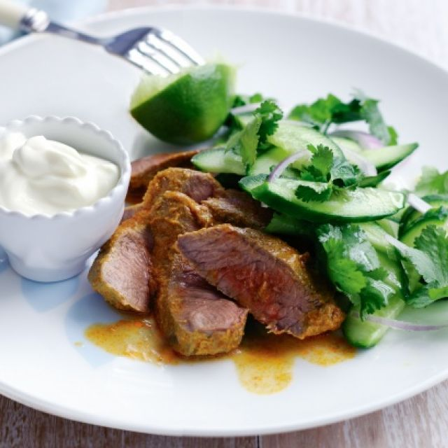 Spiced Lamb with Cucumber Salad and Yogurt