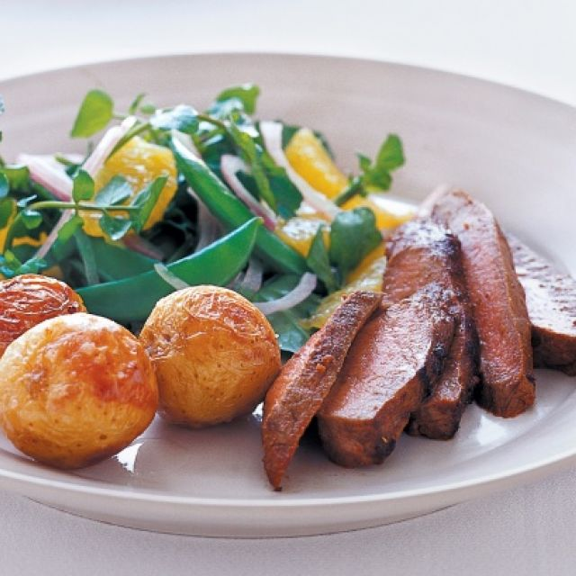 Spiced Lamb with Watercress and Orange Salad
