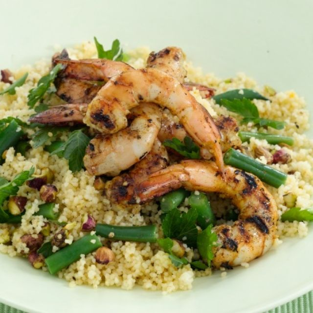 Spiced Prawns with Pistachio and Parsley Couscous