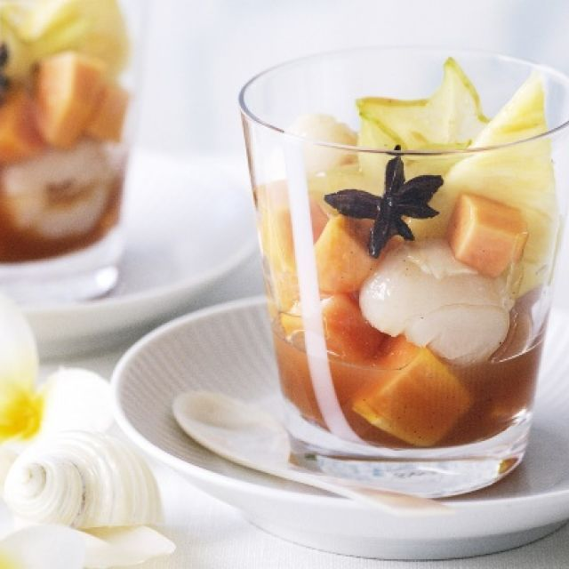 Tropical Fruit Salad with Spiced Guava Syrup