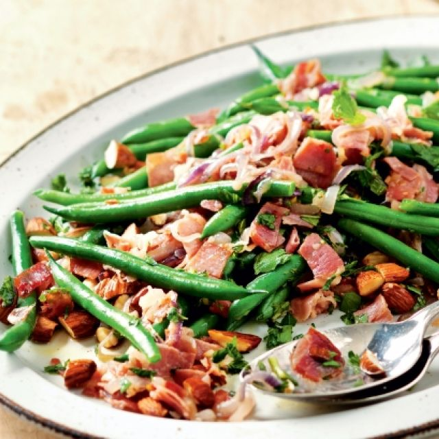 Warm Green Bean Salad with Prosciutto and Almonds