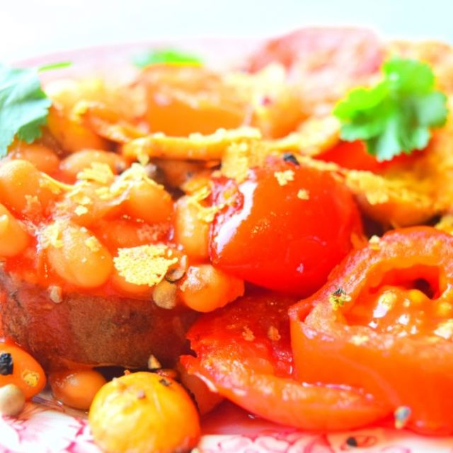 Sweet Potato Toast with 'Cheesy' Beans