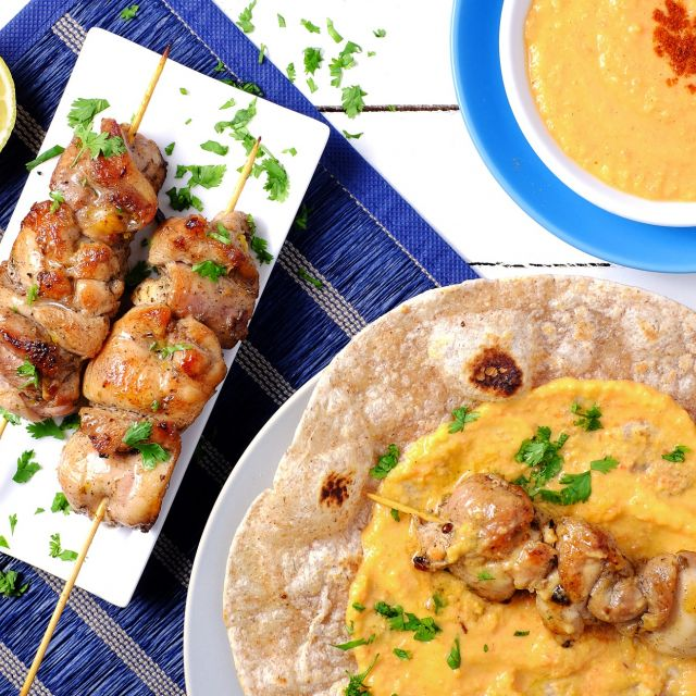 Quick Chicken Souvlakis with Roasted Pepper Hummus