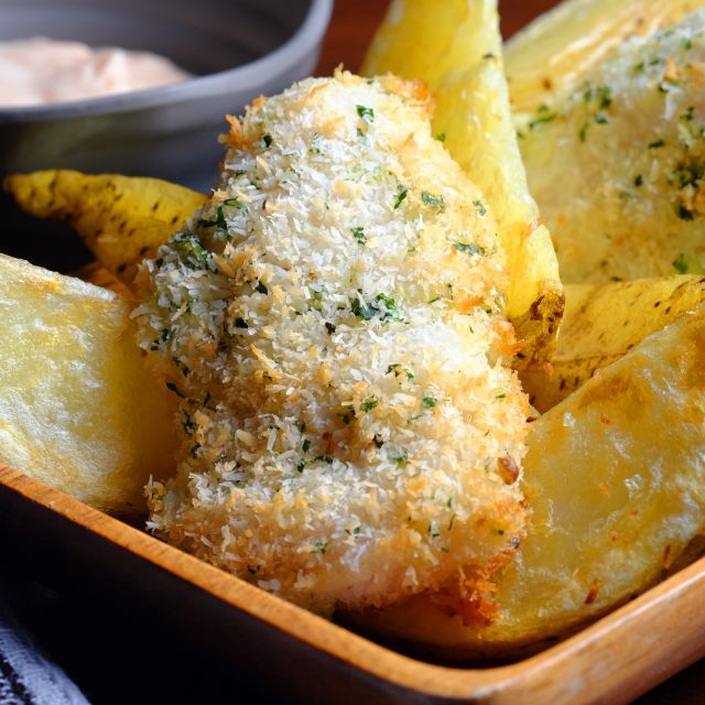 Asian Baked Fish and Chips