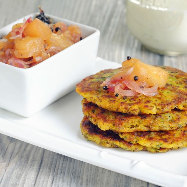 Cilantro Latkes with Five-Spice Apple Sauce