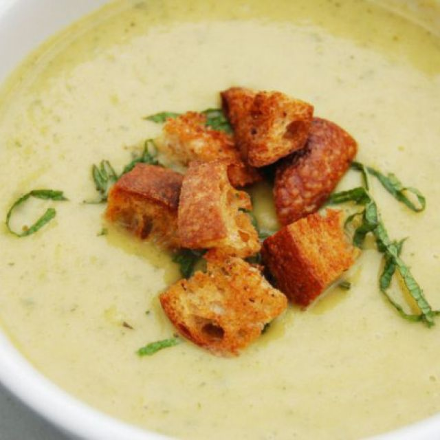 Chilled Summer Squash Soup with Yogurt, Mint, and Sourdough Croutons