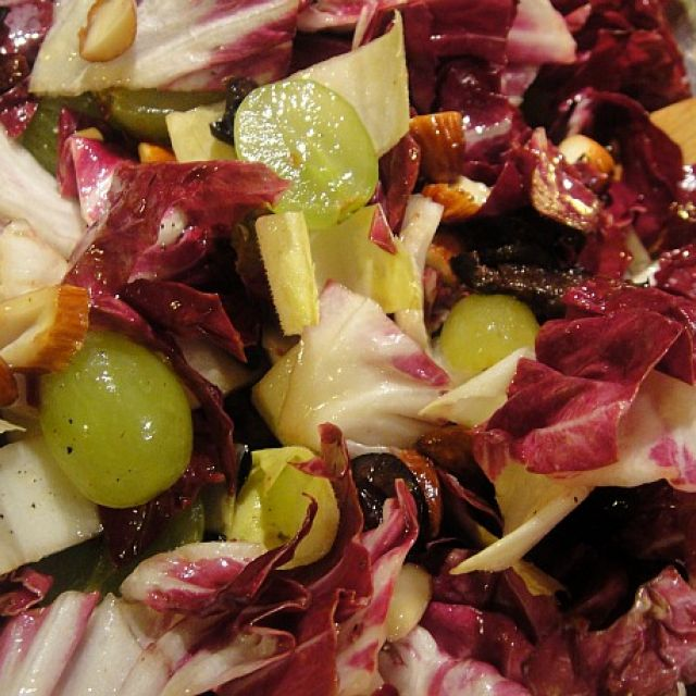Grape, Almond and Radicchio Salad with Black Olives