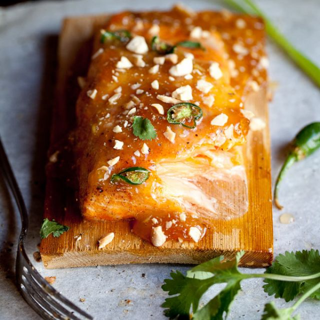 Baked Salmon with Spicy Plum Preserve
