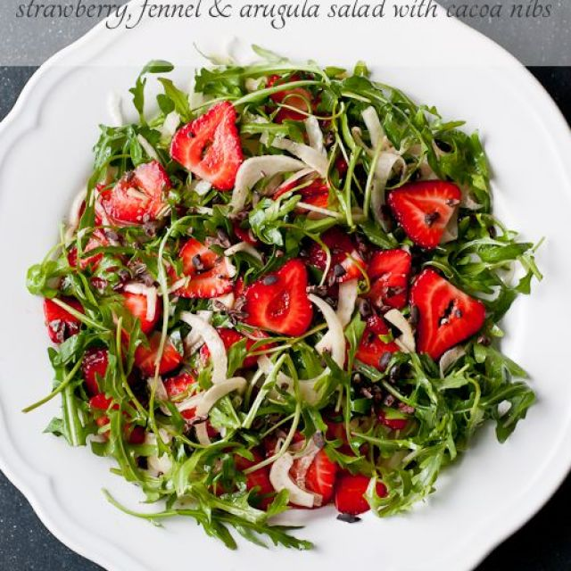 Strawberry, Fennel and Arugula Salad with Cacao Nibs