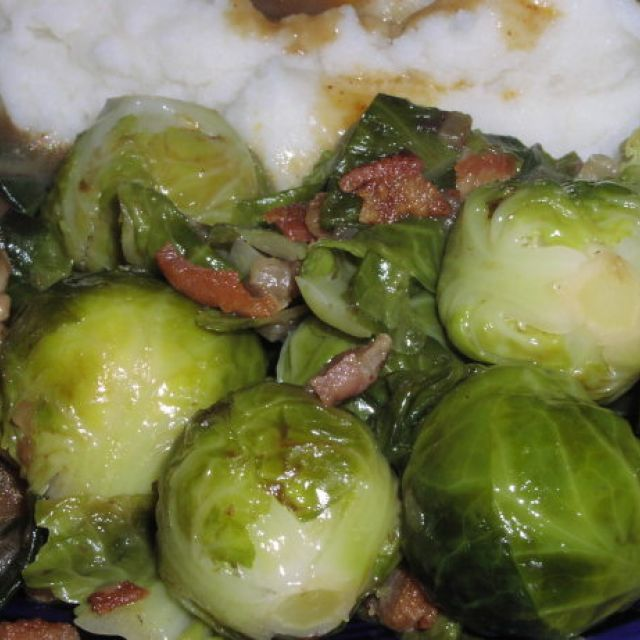 Rachael Ray's Brussels Sprouts with Bacon and Shallots