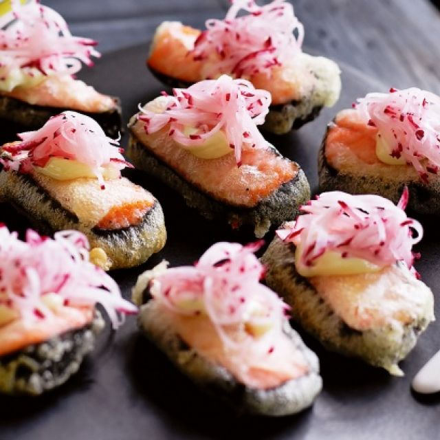 Tempura Salmon with Wasabi Mayo and Radish