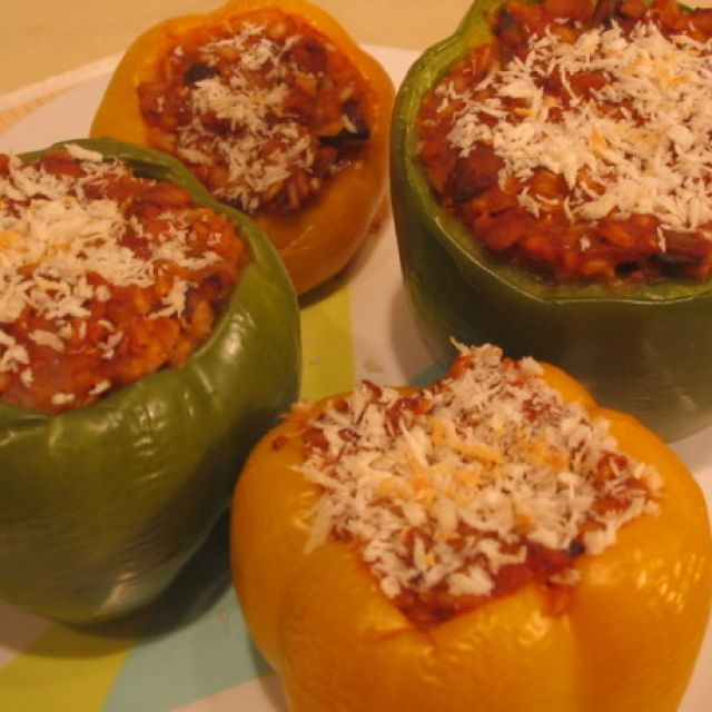 Ground Beef Stuffed Green Bell Peppers Ii - Oven Or Crock Pot