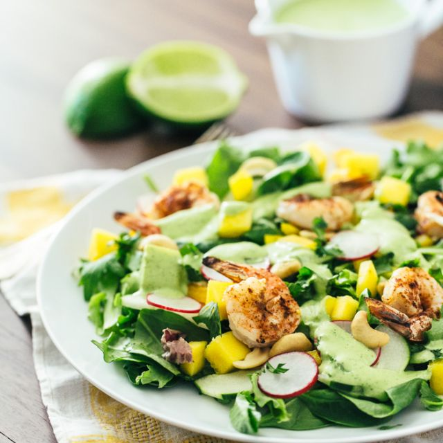 Tropical Mango Salad with Cilantro Lime Dressing and Grilled Shrimp
