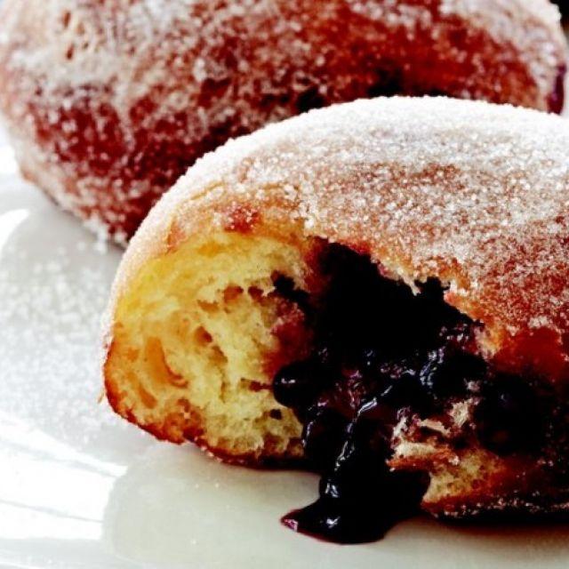 Raspberry Doughnuts with Vanilla Dipping Sauce