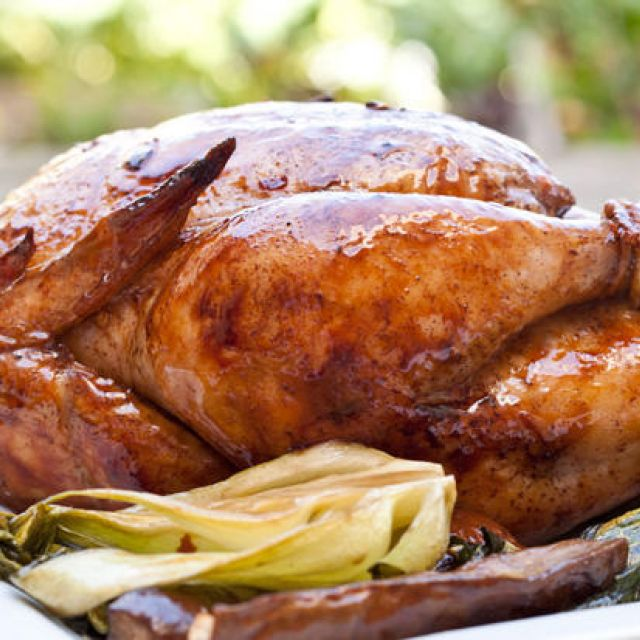 Asian Rotisserie Chicken with Caramelized Bok Choy and Eggplant