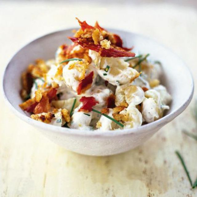 New Potato Salad with Soured Cream, Chives and Pancetta