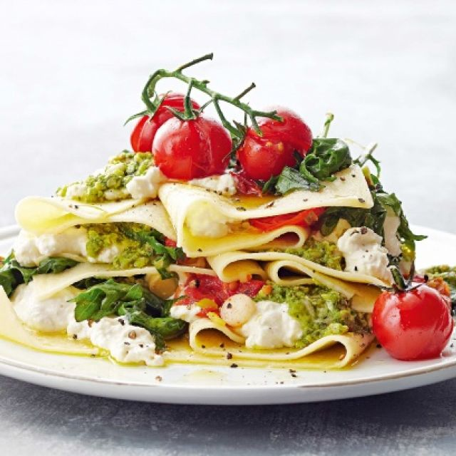 Free-Form Kale, Ricotta and Pesto Lasagna