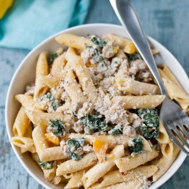 Creamy Parmesan, Sausage, and Kale Penne