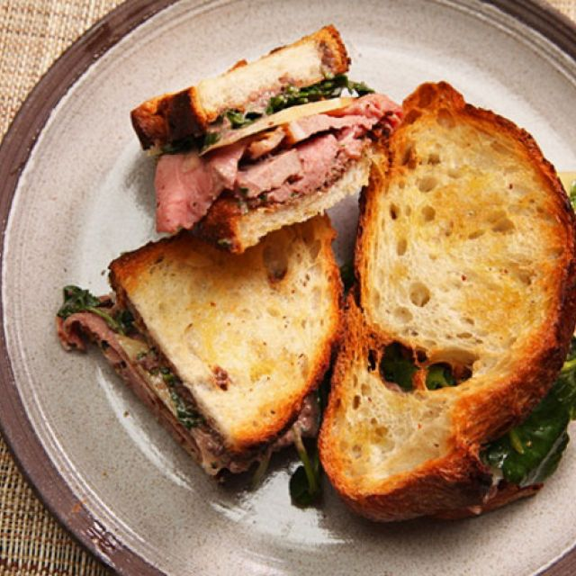 Leftover Lamb Sandwiches with Tapenade Mayo, Watercress, and Caciocavallo Cheese