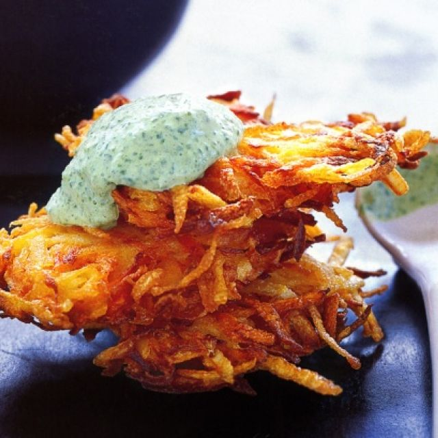Carrot and Potato Hash Browns with Spinach Cream