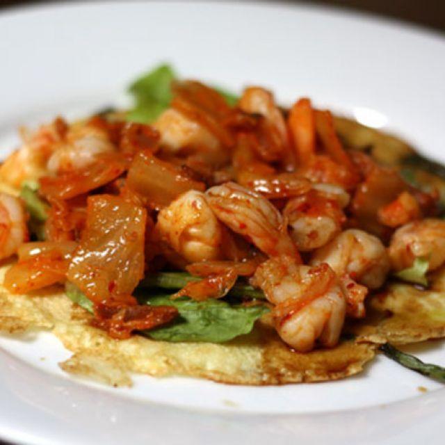 Korean Scallion Pancake with Shrimp, Bacon, and Kimchi