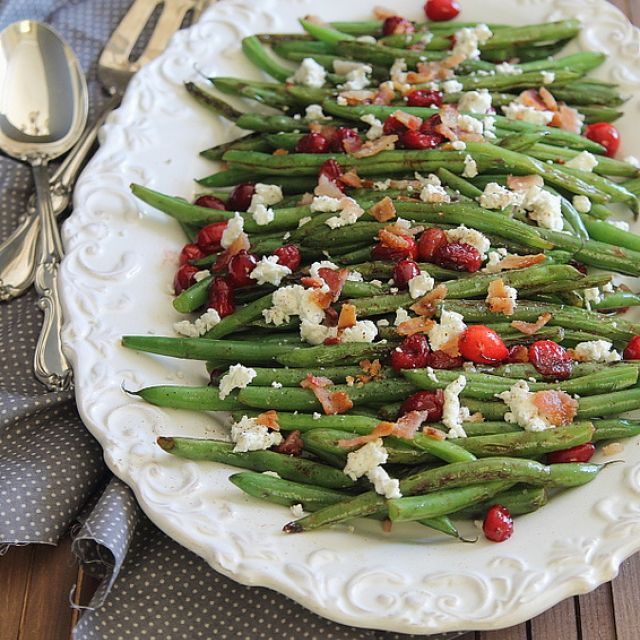 Green Beans with Cranberries, Bacon and Goat Cheese