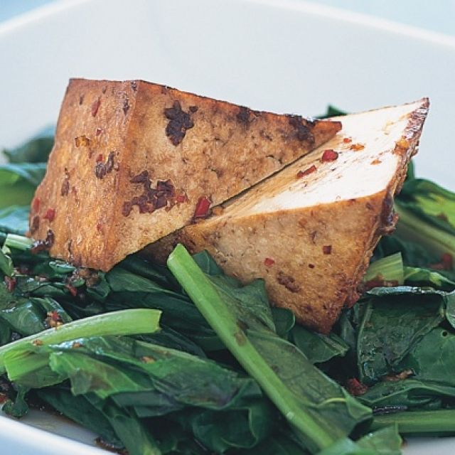 Seared Chili Tofu with Asian Greens