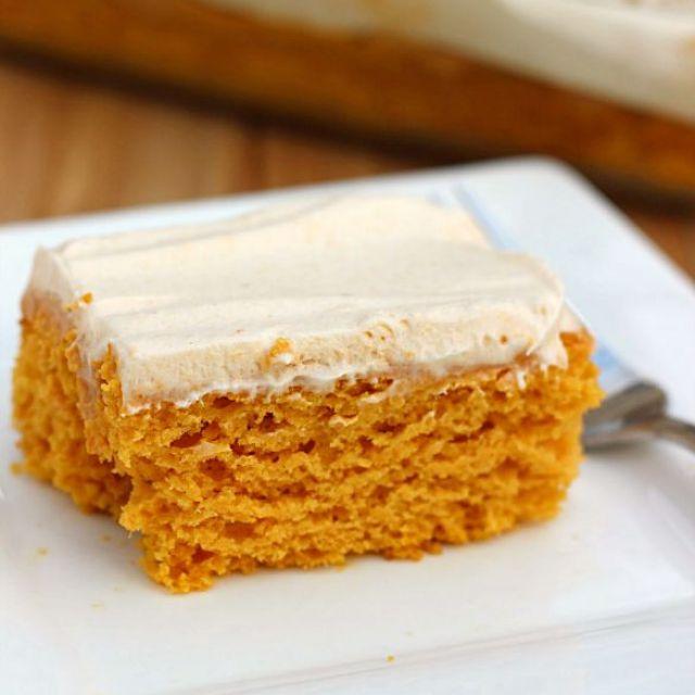 Skinny Pumpkin Butterscotch Poke Cake