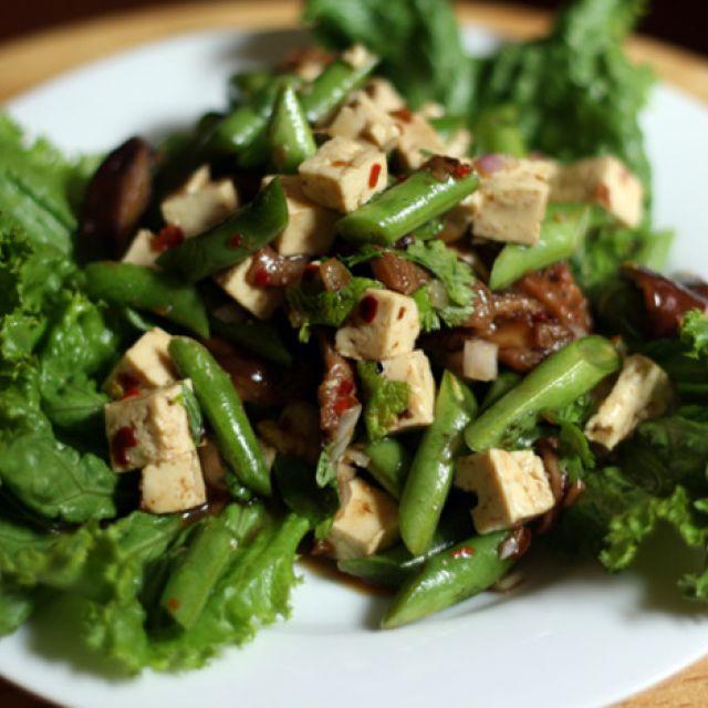 Tofu, Green Bean and Shiitake Salad