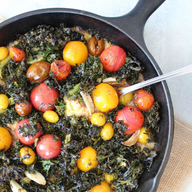 Tomato Kale Polenta Skillet