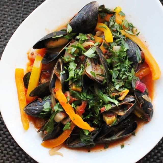 Mussels with Chard and Tomatoes