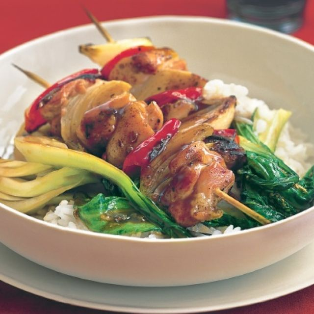 Salt and Pepper Chicken Skewers with Stir-Fried Bok Choy