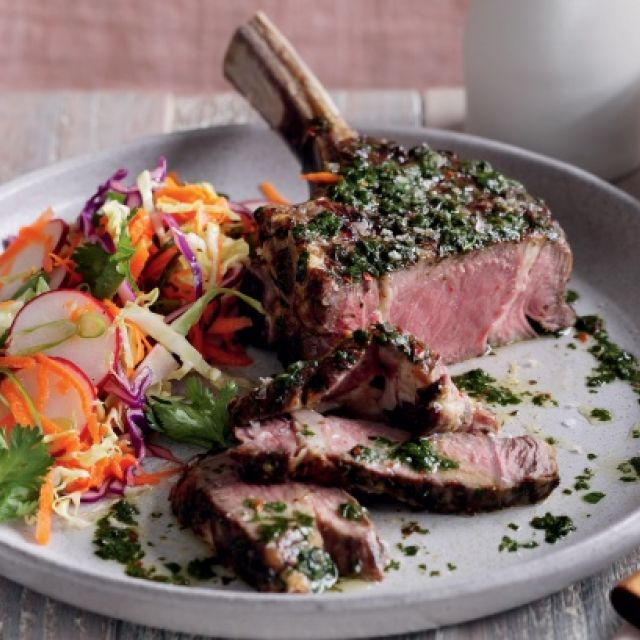 Chimichurri Rib Eye with Red Cabbage and Radish Slaw