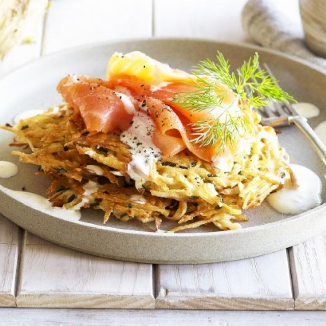 Celeriac Rosti with Smoked Salmon