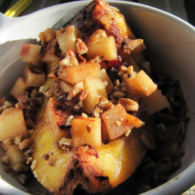 Sweet Acorn Squash with Apples and Craisins (Crock Pot)